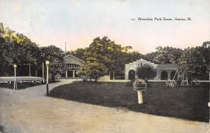 Aurora IL~Riverview Park~Flower Basket on a Pole~Spanish Revival Facade c1910