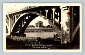 RPPC of Vincennes IN-Indiana, George Rogers Clark Memorial Bridge c1937 Postcard