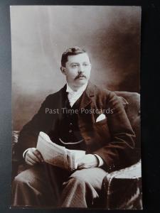 Studio Portrait: Gentleman with Mustache Reading Newspaper - Old RP Postcard