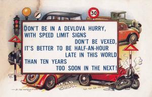 Motorist Speed Limit Sign Songcard Old Postcard