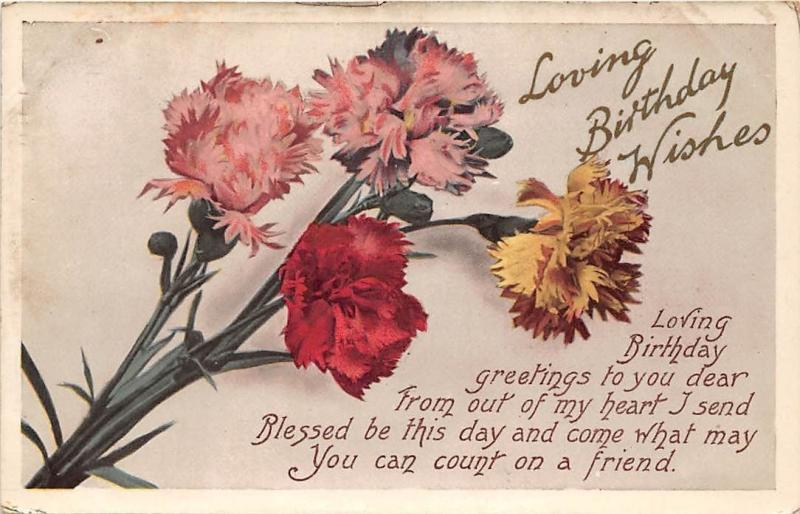 Loving Birthday Wishes Carnation Flowers Bouquet Greetings