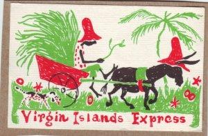 P1352 1968 used comic postcard donkey native cart dog virgin island express