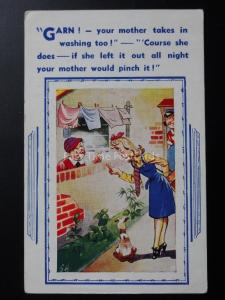 Clothes Washing Theme GARN! YOUR MOTHER TAKES IN WASHING TOO! Comic Postcard