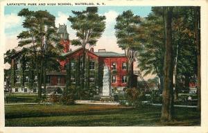 VINTAGE POSTCARD LAFAYETTE PARK & HIGH SCHOOL WATERLOO NEW YORK NY