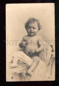 027801 Boy on Towel. S.B.W. Vintage Real Photo