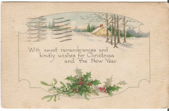 Snow Covered Woodland Scene with Country Cottage Holly and Mistletoe Vintage