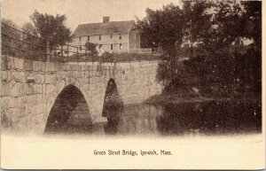 Ipswich Massachusetts~Green Street Bridge~Arched Stone Bridge~House @ Top~c1905