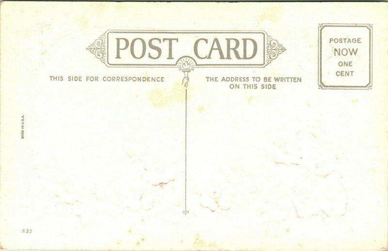 Vtg Carte Postale non Utilisé 1910s Cordial Voeux Congratulations Floral Poème