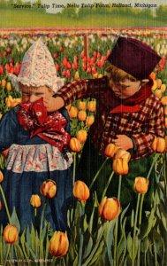 Michigan Holland Tulip Time Dutch Kids At Nelis Tulip Farm 1956 Curteich