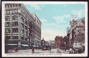 P1484 1919 used postcard monroe st. view detroit mich national theatre sign  ect