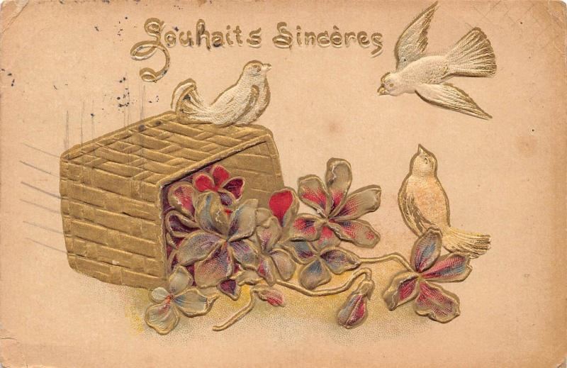 Souhaits Sinceres Greetings basket flowers birds, dove 1906