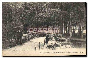 Old Postcard Bois de Vincennes rustic bridge