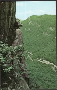 North Carolina The Devil's Head balanced on a ledge top of Chimney Rock - Chrome