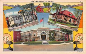 The Libraries of the Oranges, New Jersey,  Early Postcard, Unused