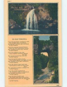 Unused Linen TWO VIEWS ON CARD Fantail Falls - Buena Vista Virginia VA ho7501