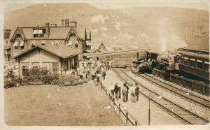 TYRONE PA RAILROAD STATION depot TRAIN WRECK ANTIQUE REAL PHOTO POSTCARD RPPC