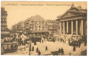 Bruxelle , Belgium, 1910s , Boulevard Anspach et la Bourse