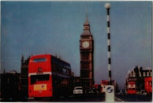 3D Big Ben & Westminster Bridge, London England Stereorama Vintage Postcard X05