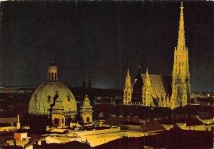 Vienna Floodlight St Stephen's Cathedral Night view Dom Postcard