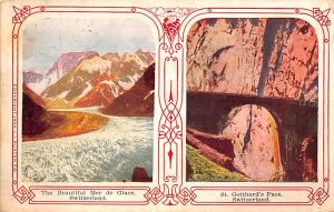 Switzerland Old Vintage Antique Post Card Beautiful Mer de Glace St Gotthard&...