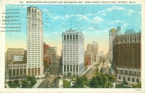 Washington Blvd & Woodward Ave from Grand Circus Park, Detroit MI 1930 Postcard