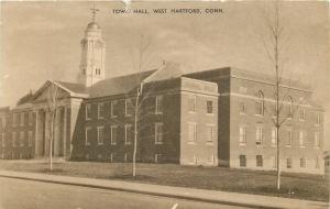 West Hartford Connecticut~Town Hall 1937 Postcard