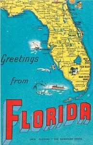 Linen Greetings from Florida Map Postcard FL