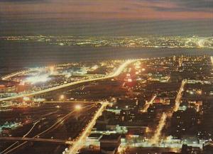 Canada Toronto Lakeshore Boulevard Aerial View At Night