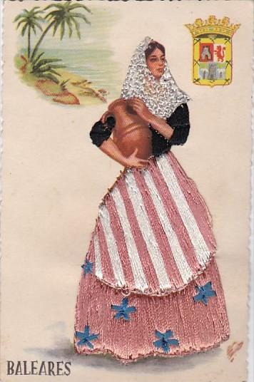 Embroidered Baleares Spain Woman In Local Costume