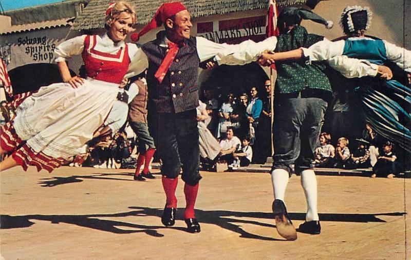 SOLVANG, CA California   FLYING DANCERS in Costume  c1950s Postcard