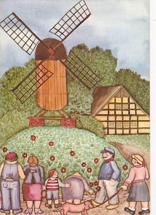 Family & A Dog Infront Of Their Garden, Windmill, Universitatsstadt Munster, ...