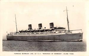 Furness Bermuda Line QTEV Monarch of Bermuda Steamer Real Photo Postcard J76095