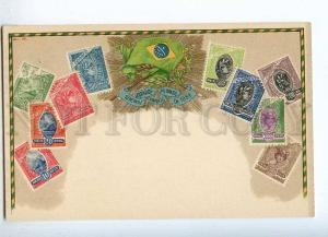 231962 BRAZIL Coat of arms STAMPS Vintage Zieher postcard