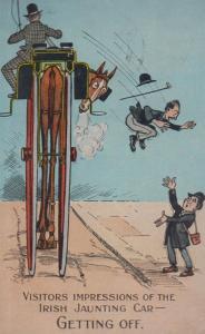 Irish Jaunt Jaunting Car People Falling Off Antique Ireland Old Comic Postcard