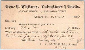 1887 Chicago IL Business Postcard Geo. C. Whitney, Valentines & Cards Receipt