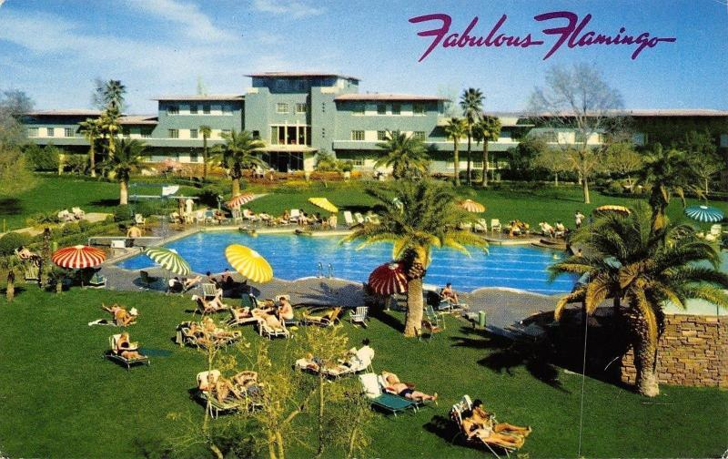 Las Vegas Nevada~Fabulous Flamingo Hotel~Olympic Pool~1950s Postcard