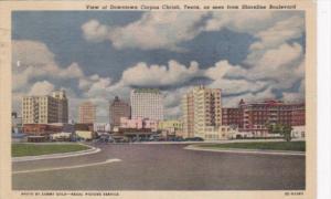 Texas Corpus Christi Downtown Seen From Shoreline Boulevard 1954 Curteich