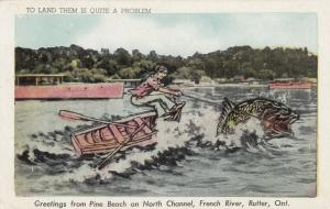 RUTTER , Ontario , 1951 ; Fishing Comic, Pine Beach on North Channel, French Riv
