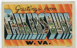 Greetings From Parkersburg West Virginia Large Letter Linen postcard