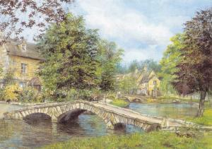 Postcard Art Bourton-On-Water, Gloucestershire by Pat Bell Large 170x120mm