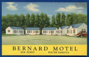 Bernard Motel Elk Point South Dakota sd old linen postcard