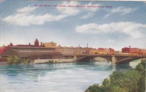 Minnesota Minneapolis Union Depot and Steel Arch Bridge 1913