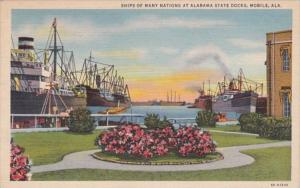 Alabama Mobile Ships Of Many Nations At State Docks 1941 Curteich