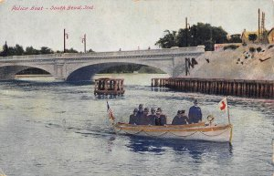 Police Boat on River South Bend Indiana 1910c postcard