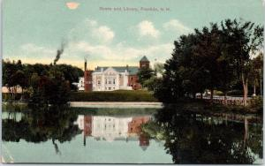 Early 1900s Opera and Library, Franklin, NH postcard