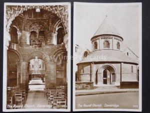 Cambridge: 2 x The Round Church Exterior & Interior - Old RP Postcard