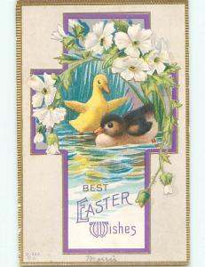Pre-Linen easter religious CUTE BABY DUCKS INSIDE JESUS CROSS J2165