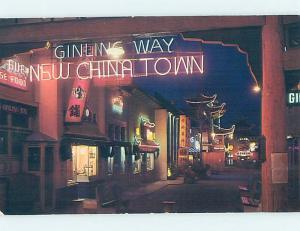 Pre-1980 China NEON SIGN AT CHINATOWN Los Angeles California CA hn5081