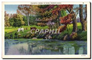 Old Postcard Peaceful Scene In Rural Pennsylvania