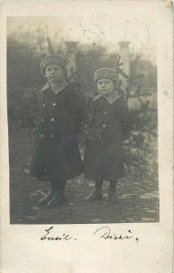 Romania photo postcard Kolozsvar via Mediasch ( Medias ) 1912 boys snapshot foto